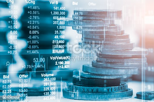istock Index graph of stock market financial indicator analysis on LED. Abstract stock market data trade concept. Stock market financial data trade graph background. Global financial graph analysis concept. 901050458
