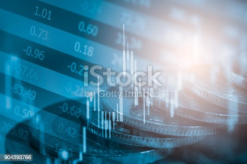 istock Index graph of stock market financial indicator analysis on LED. Abstract stock market data trade concept. Stock market financial data trade graph background. Global financial graph analysis concept. 904393766
