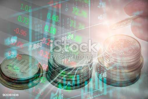 istock Index graph of stock market financial indicator analysis on LED. Abstract stock market data trade concept. Stock market financial data trade graph background. Global financial graph analysis concept. 905361636