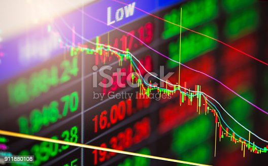 istock Index graph of stock market financial indicator analysis on LED. Abstract stock market data trade concept. Stock market financial data trade graph background. Global financial graph analysis concept. 911880108