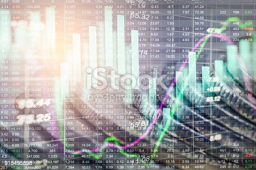 istock Index graph of stock market financial indicator analysis on LED. Abstract stock market data trade concept. Stock market financial data trade graph background. Global financial graph analysis concept. 915495898