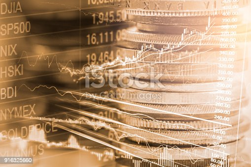 istock Index graph of stock market financial indicator analysis on LED. Abstract stock market data trade concept. Stock market financial data trade graph background. Global financial graph analysis concept. 916325660