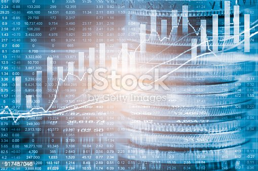 istock Index graph of stock market financial indicator analysis on LED. Abstract stock market data trade concept. Stock market financial data trade graph background. Global financial graph analysis concept. 917487046