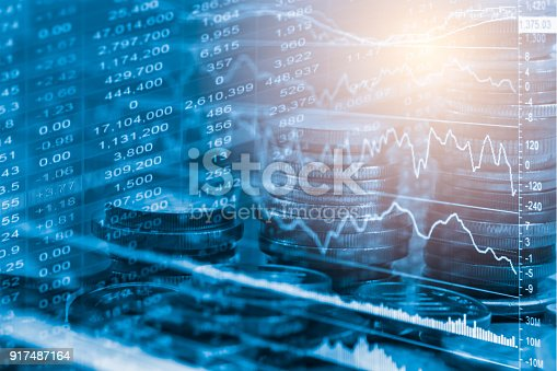 istock Index graph of stock market financial indicator analysis on LED. Abstract stock market data trade concept. Stock market financial data trade graph background. Global financial graph analysis concept. 917487164