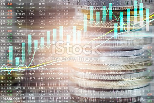 istock Index graph of stock market financial indicator analysis on LED. Abstract stock market data trade concept. Stock market financial data trade graph background. Global financial graph analysis concept. 918332278
