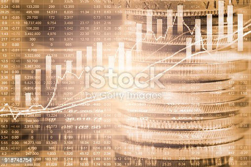 istock Index graph of stock market financial indicator analysis on LED. Abstract stock market data trade concept. Stock market financial data trade graph background. Global financial graph analysis concept. 918748754