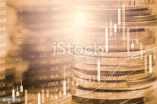 istock Index graph of stock market financial indicator analysis on LED. Abstract stock market data trade concept. Stock market financial data trade graph background. Global financial graph analysis concept. 920917714