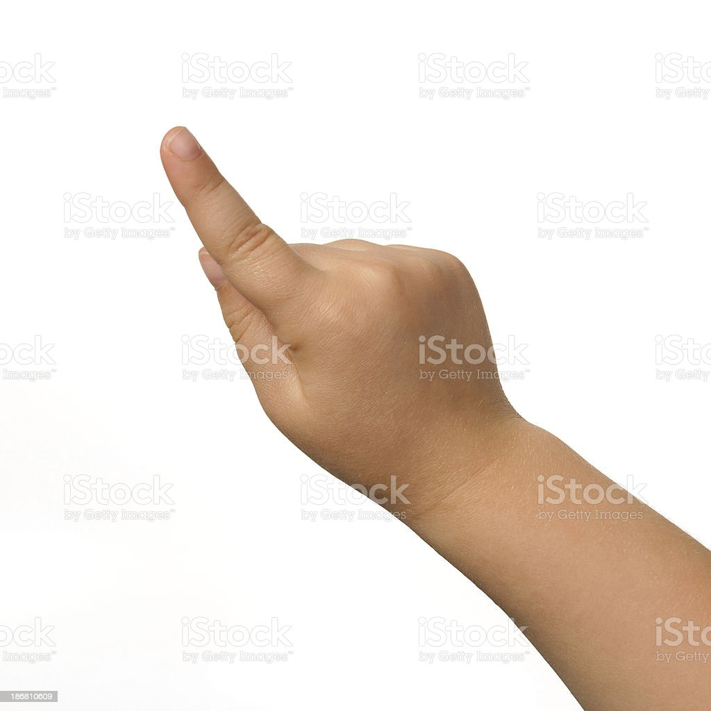 Index of a child's right hand on white background royalty-free stock photo