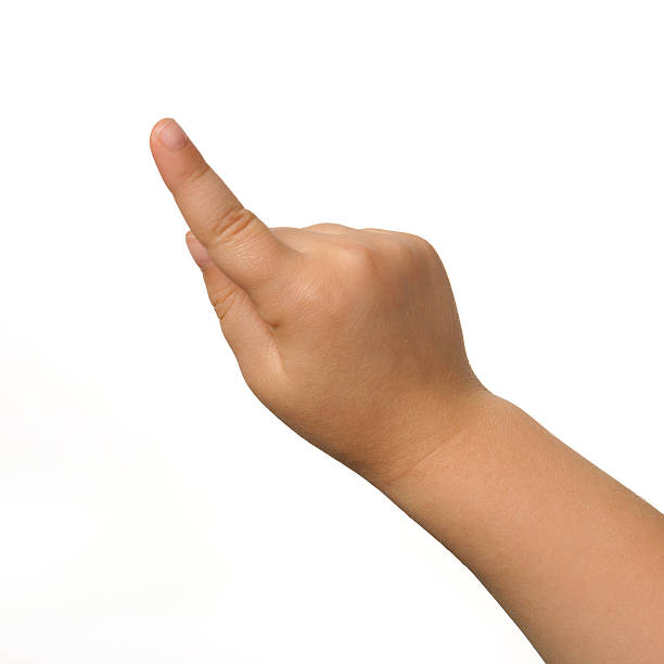 Index of a child's right hand on white background stock photo