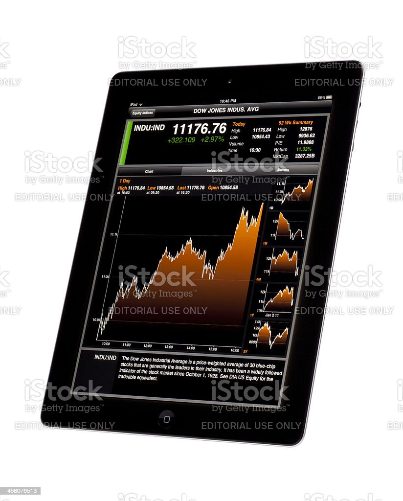 DOW JONES Index on Apple iPad royalty-free stock photo