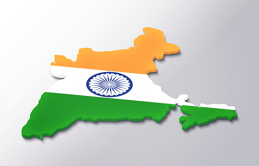 India 3d Map White Background Stock Photo - Download Image Now - iStock
