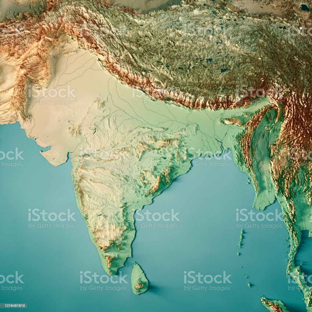 Topographic Map Asia.India 3d Render Topographic Map Color Stock Photo More Pictures Of