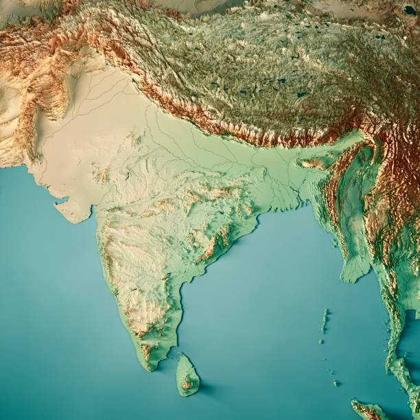 India 3D Render Topographic Map Color stock photo