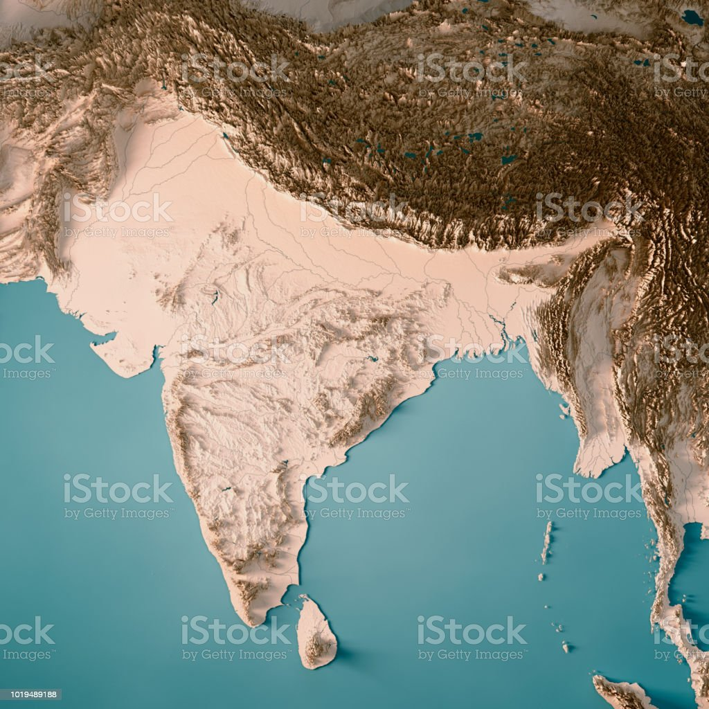 India 3d Render Topographic Map Neutral Stock Photo More Pictures
