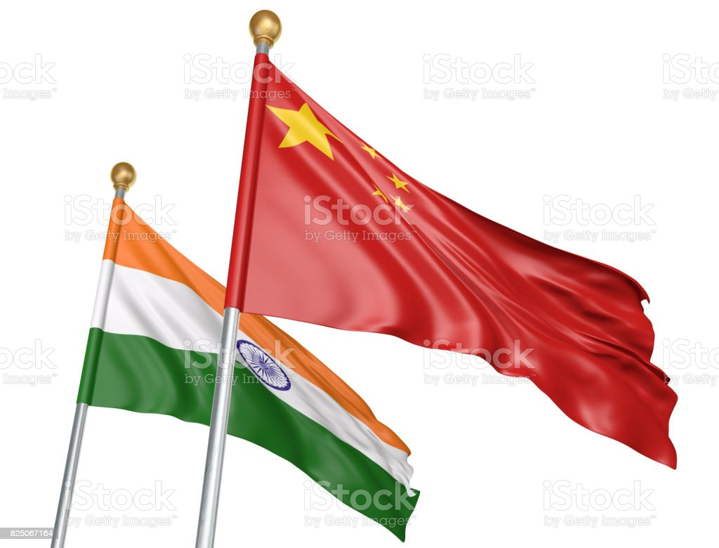 India and China flags flying together for important diplomatic talks, 3D rendering stock photo