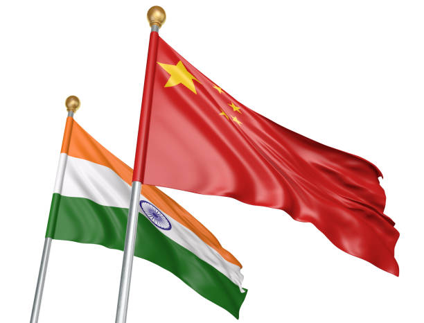 India and China flags flying together for important diplomatic talks, 3D rendering National flags from India and China flying side by side to represent relations between the two countries, isolated on a white background. foreign affairs stock pictures, royalty-free photos & images
