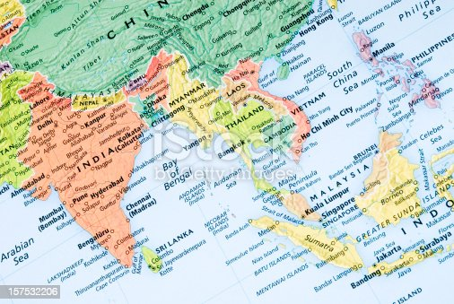 istock India and Malaysia regional map 157532206