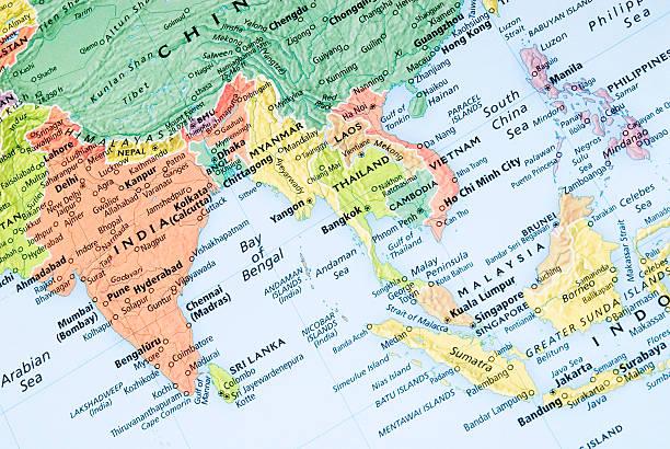 india and malaysia regional map - zuidoost azië stockfoto's en -beelden