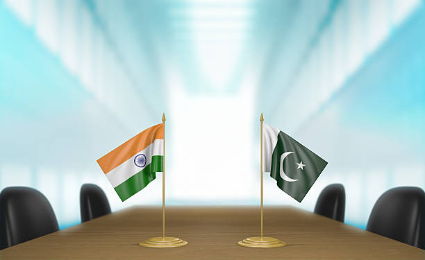 india and pakistan relations and trade deal talks, 3d rendering - pakistani flag stock photos and pictures