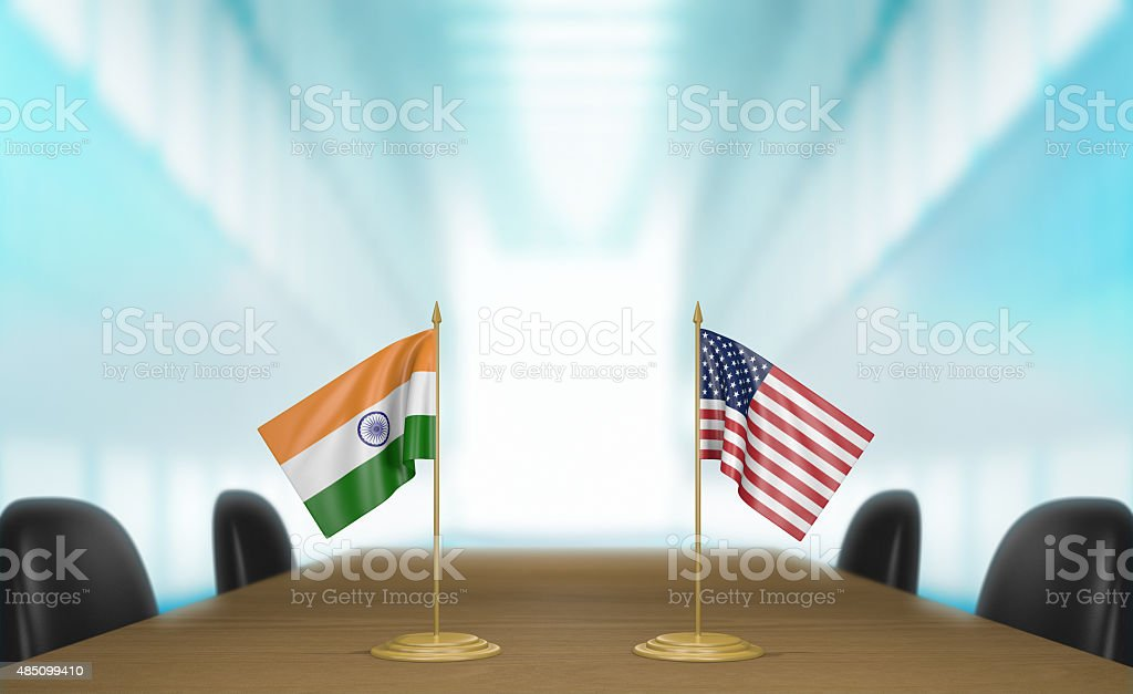 India and United States relations and deal talks 3D rendering stock photo