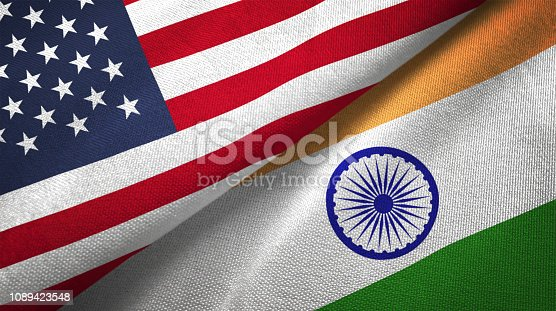 India and United States flags together realtions textile cloth fabric texture