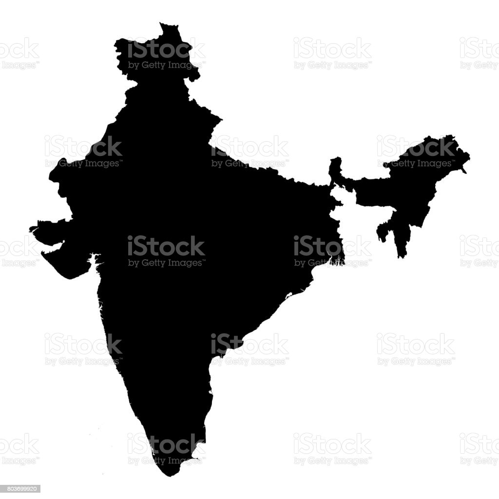 India Black Silhouette Map Outline Isolated on White 3D Illustration stock photo