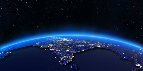 Die Lichter der Stadt, Karte von Indien – Foto