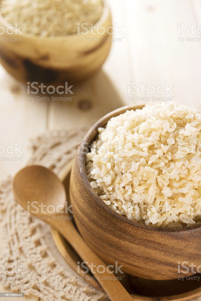 India cooked organic basmati brown rice ready to eat royalty-free stock photo