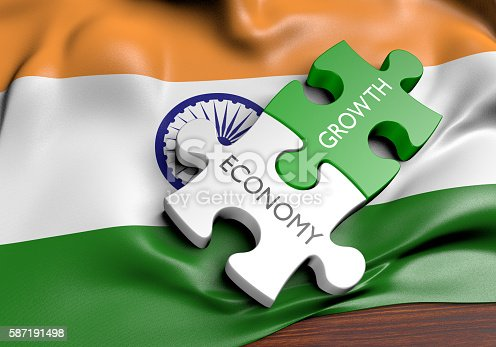 3D rendered concept of the state of the economic and finance markets in India.