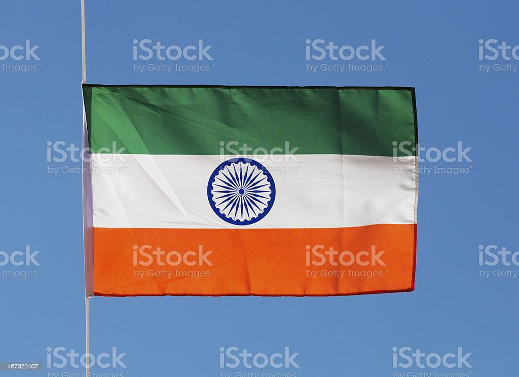 India flag in the wind against a sky royalty-free stock photo