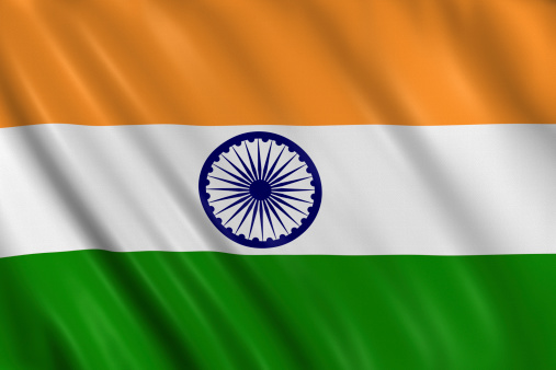 Flag of india waving with highly detailed textile texture pattern