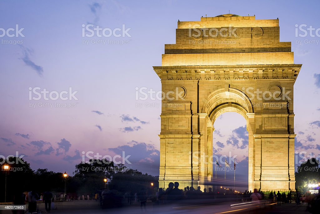 India Gate at Night New Delhi stock photo