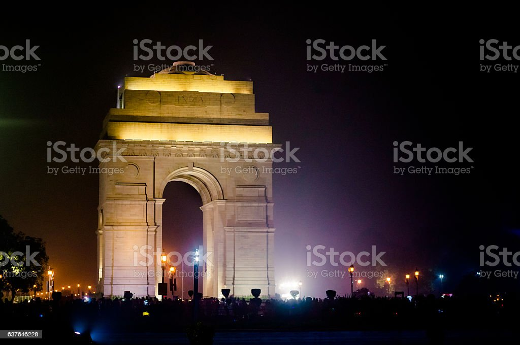 India Gate Delhi at night with lights stock photo