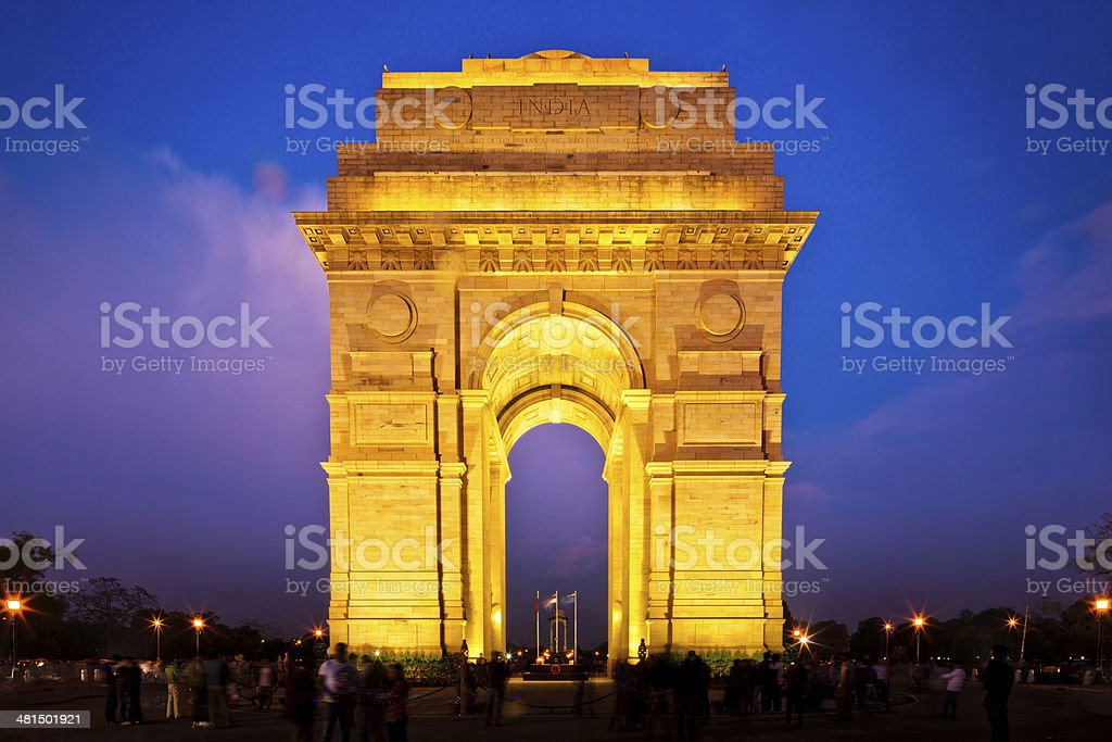India Gate in New Dehli at dusk stock photo