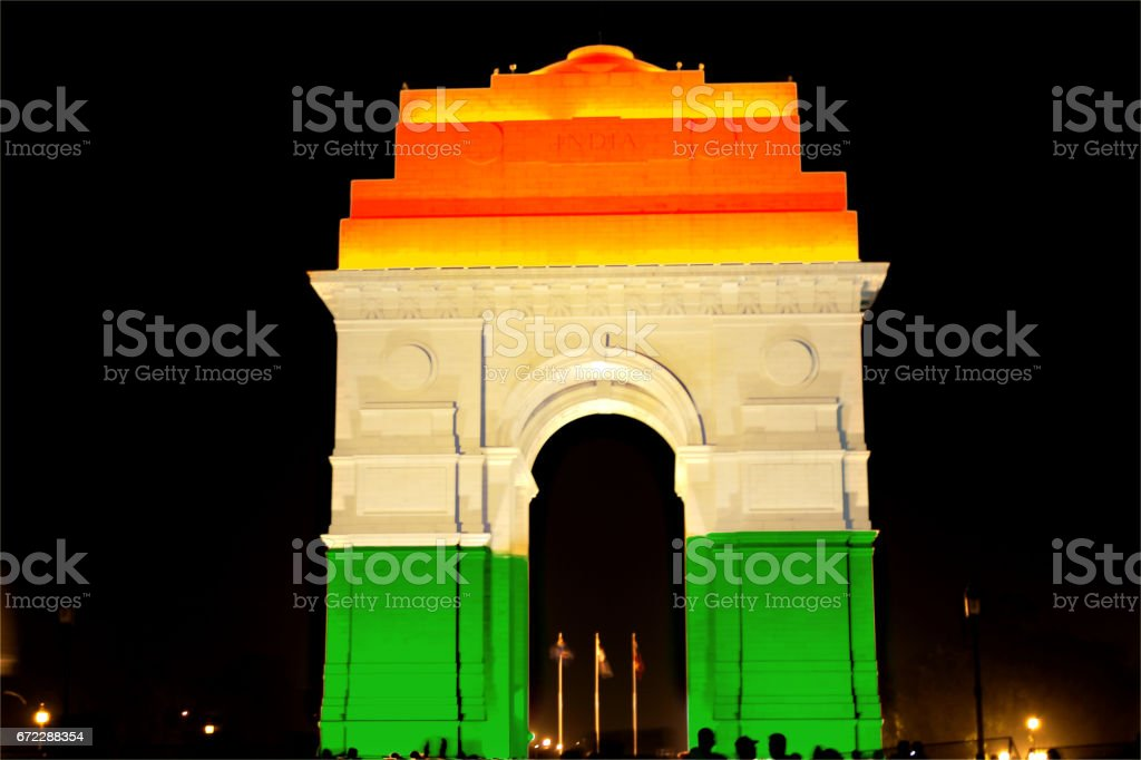 India Gate lit with Tricolor stock photo