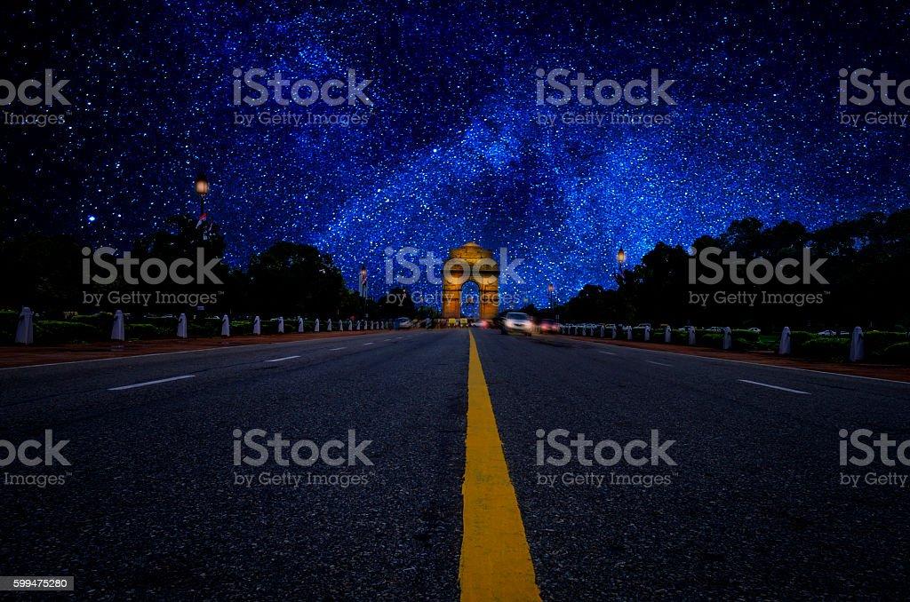 India Gate stars Galaxy at Night long exposure stock photo