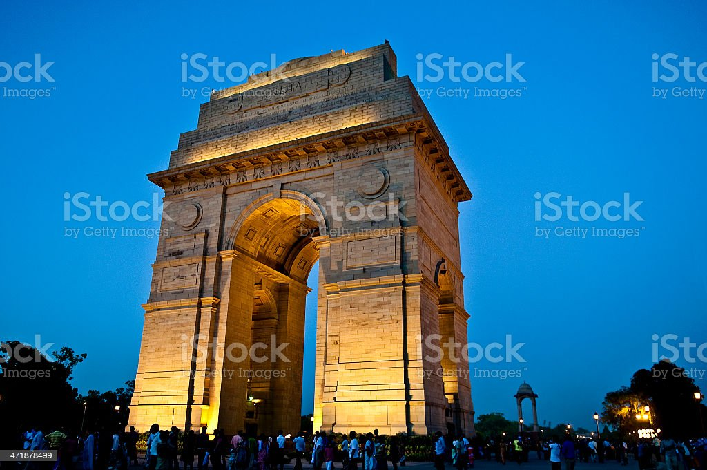 India Gate War Memorial at blue hour stock photo