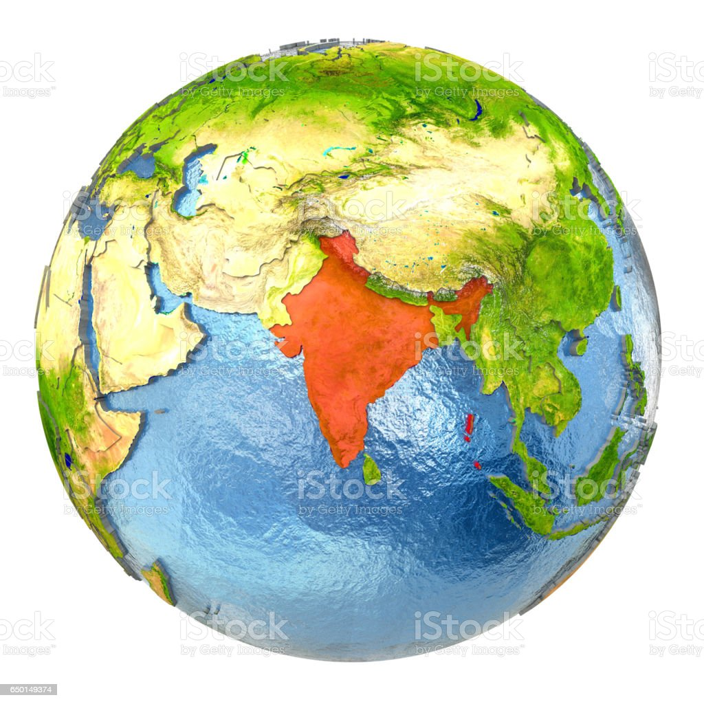Full Earth Map.India In Red On Full Earth Stock Photo More Pictures Of Asia Istock