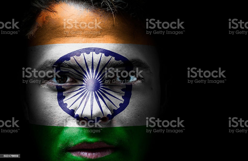 India, Indian flag on face stock photo