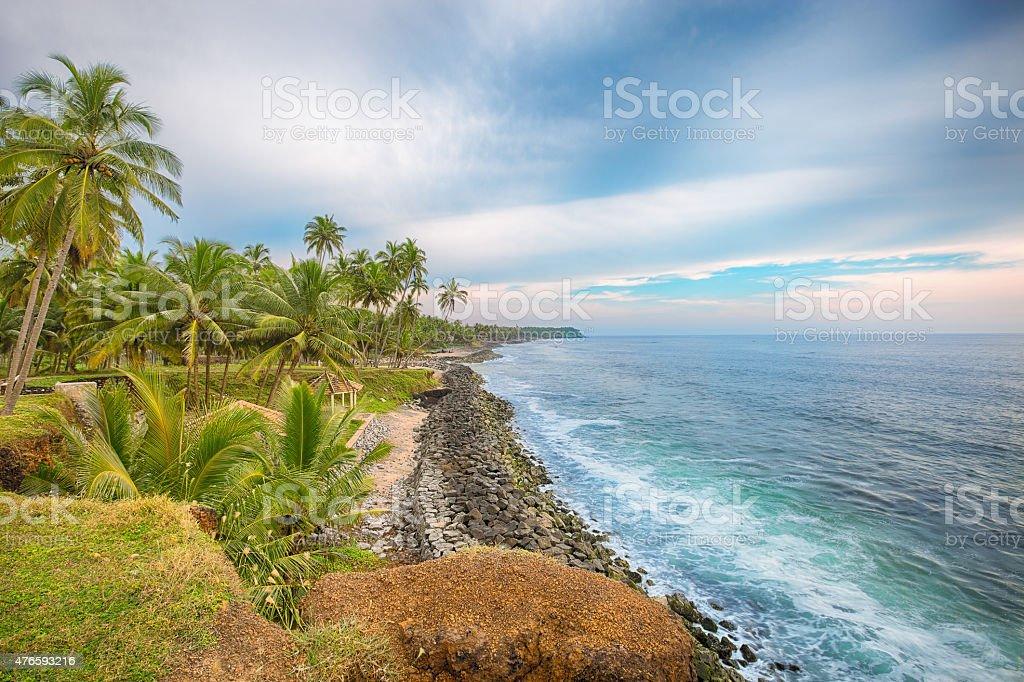 India, Kerala, Varkala beach cliff stock photo