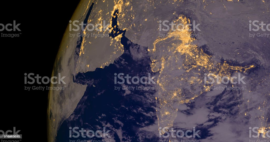 India lights during night as it looks like from space. Elements of this image are furnished by NASA stock photo