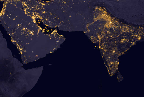 india lights during night as it looks like from space. elements of this image are furnished by nasa - continent geographic area stock photos and pictures