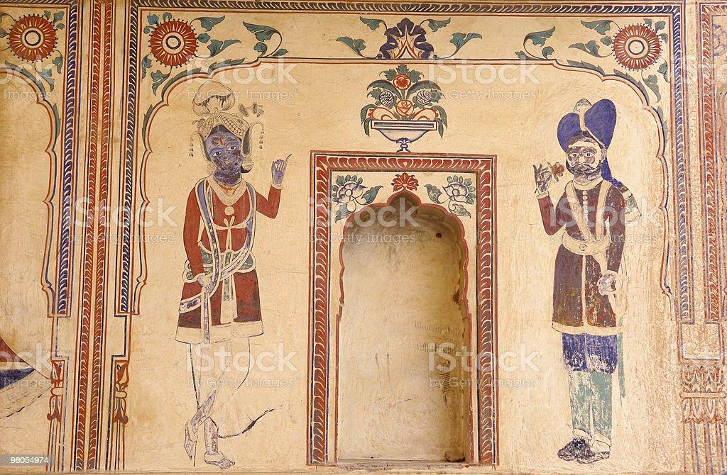 인도, Mandawa-fresco 벽면 royalty-free 스톡 사진