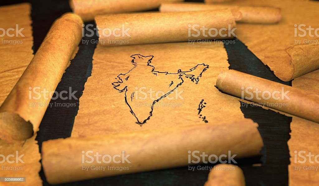 India Map Drawing Unfolding Old Paper Scroll 3D stock photo