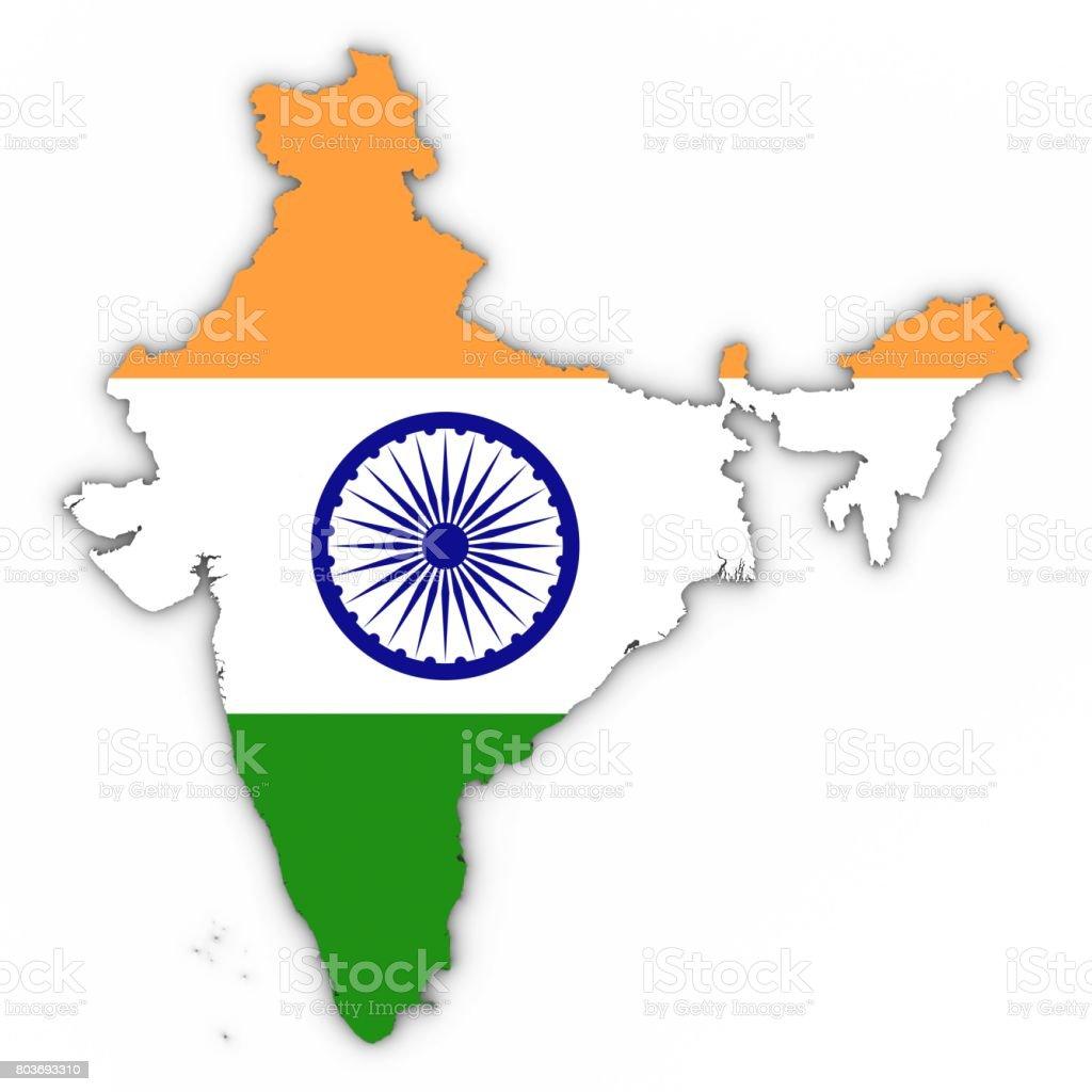Esboço de mapa Índia com bandeira indiana no branco com sombras 3D ilustração - foto de acervo