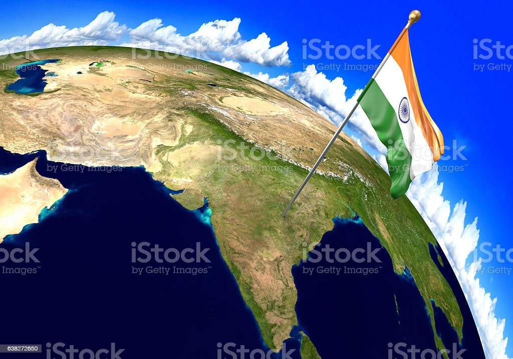 Fotografa de india national flag marking the country location on india national flag marking the country location on world map foto de stock libre de derechos gumiabroncs Image collections