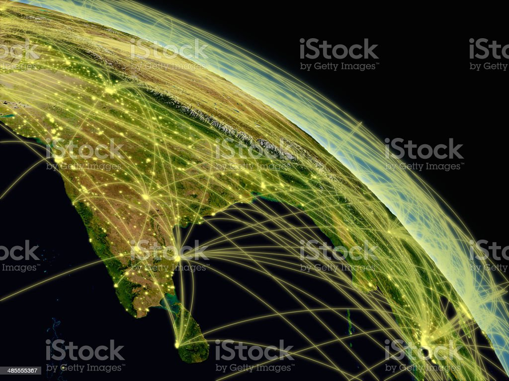 India network Network concept with Indian subcontinent viewed from space. Highly detailed planet surface with city lights. Elements of this image furnished by NASA. Asia Stock Photo