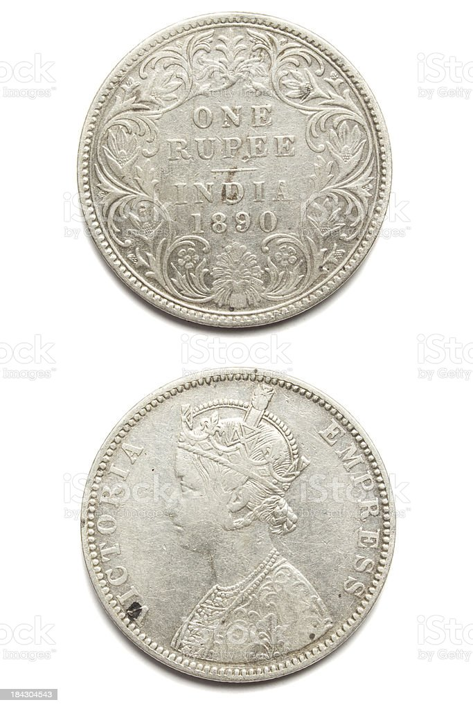 India One Rupee Silver Coin 1890 royalty-free stock photo