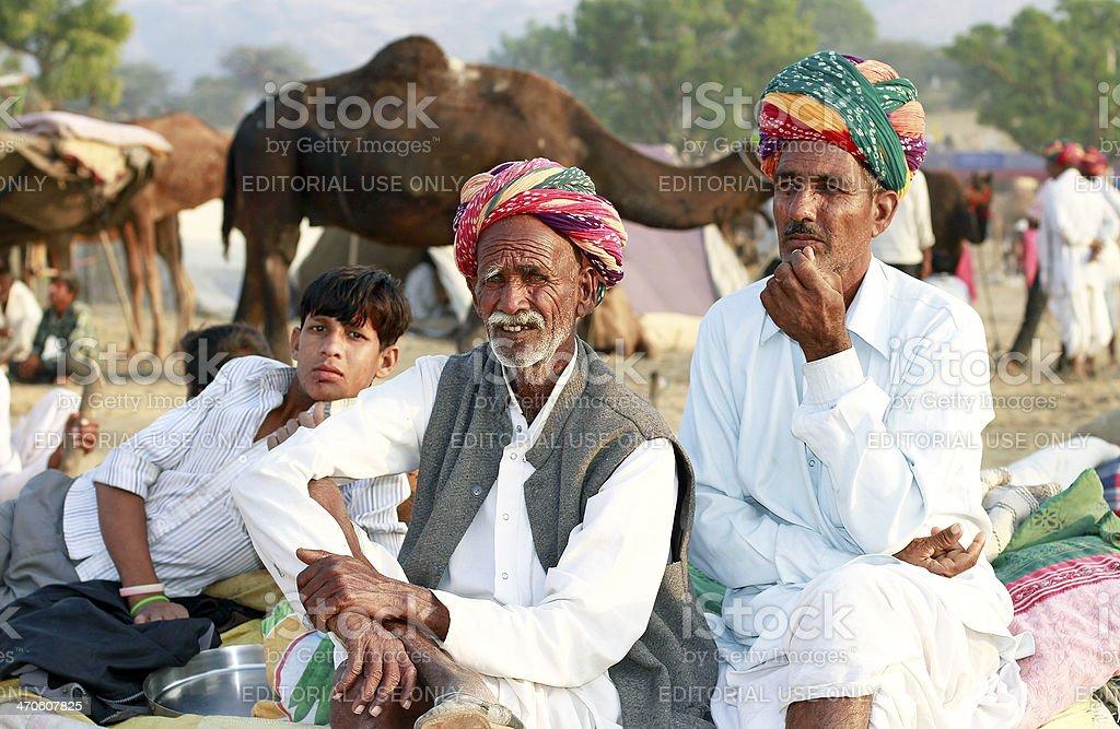 India people setting on Pushkar fair royalty-free stock photo