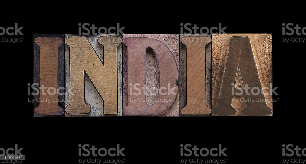 India the word India in old letterpress wood type Asia Stock Photo